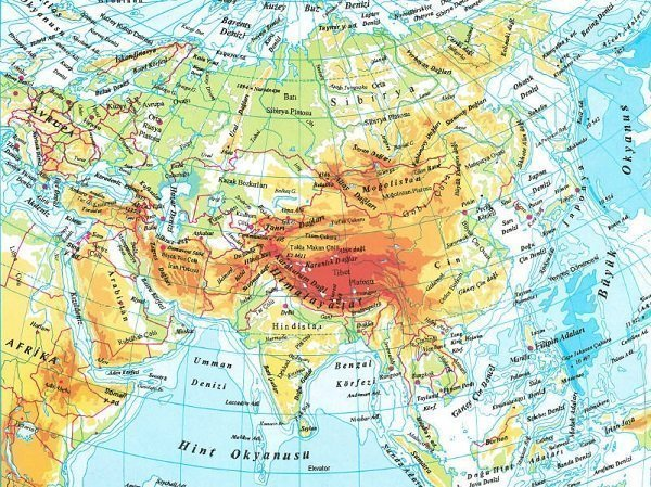 Asya Kıtası'nın Coğrafi Özellikleri 1 – asya fiziki haritasi