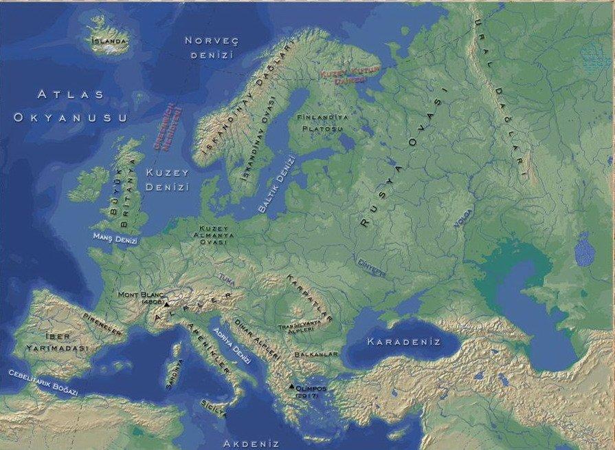 Avrupa Kıtası'nın Coğrafi Özellikleri 1 – avrupa fiziki haritası