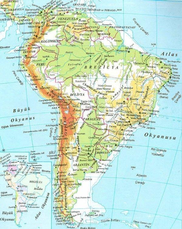 Amerika Kıtası'nın Coğrafi Özellikleri 2 – güney amerika fiziki