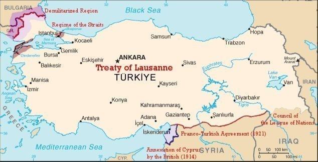 Lozan Barış Antlaşması Önemi ve Sonuçları 2 – lozana göre Bugünkü Türkiye Sınırları