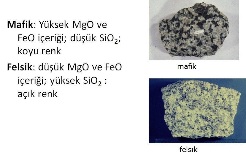 Magmatik Kayaçların Kimyasal ve Fiziksel Özellikleri 3 – mafik felsik nedir