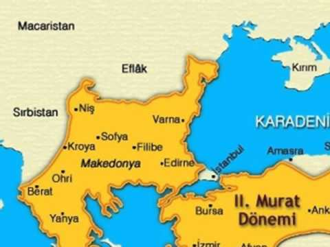 II. Murat Dönemi Olayları ve Savaşları (1421-1451) 1 – 2. murat dönemi osmanlı haritası