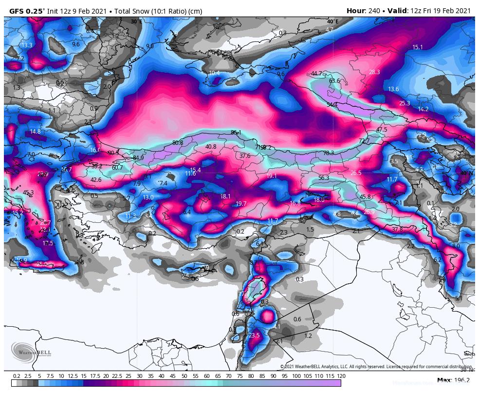 13-22 Şubat Soğuk ve Kar Yağışlı Sibirya Sistemine Bakış 3 – gfs 10 gunluk kar