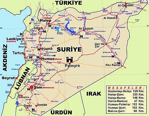 Suriye'nin Coğrafyası, Fiziki ve Ekonomik Yapısı 1 – suriye haritasi